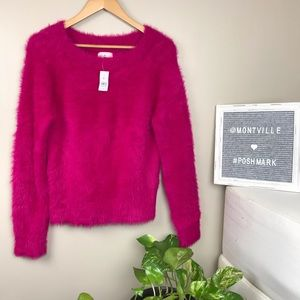 NWT Lou & Grey Bright Pink Thick Fuzzy Sweater XS